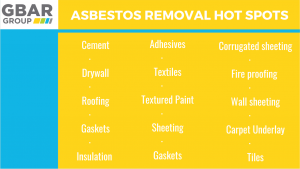 most common asbestos removal spots chart