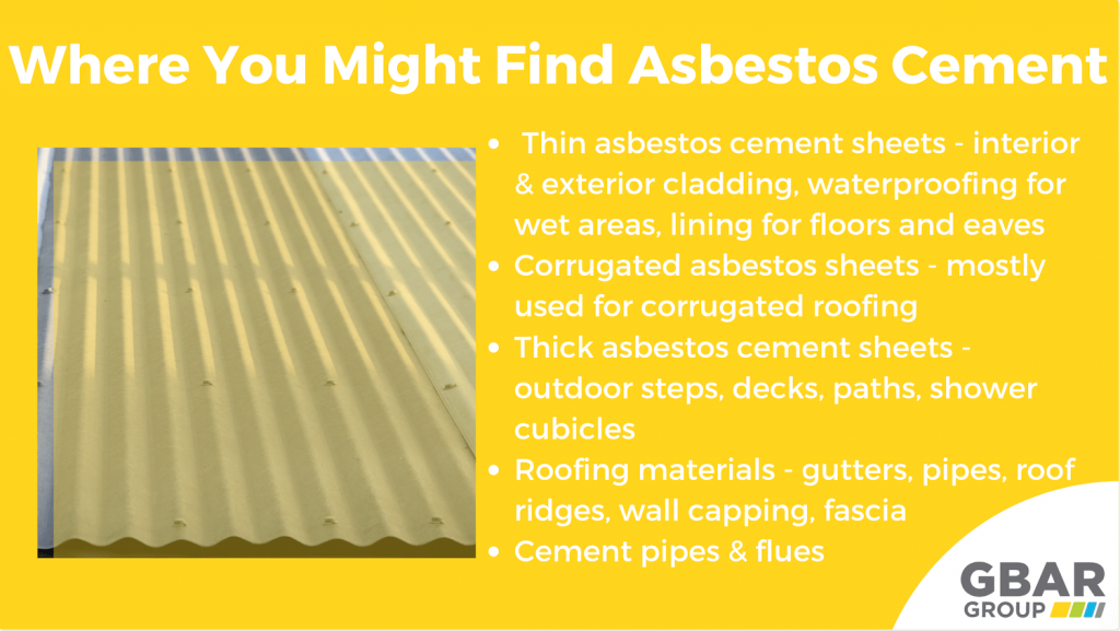 places where you might find asbestos cement