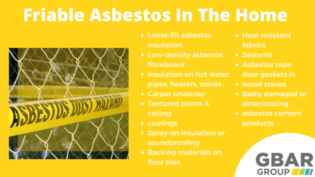 locations where you might find friable asbestos in the home